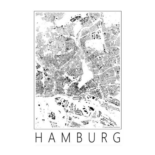 Schwarzplan Hamburg Poster Figureground Diagram - Poster 20x30 cm