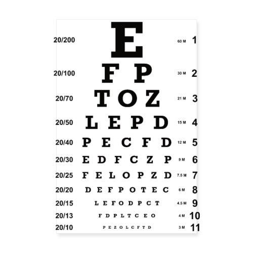Augenoptiker Augenarzt Sehtest Brille Geschenk - Poster 20x30 cm
