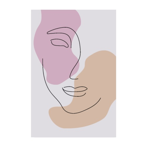 Face - One Line Art - Poster 20x30 cm