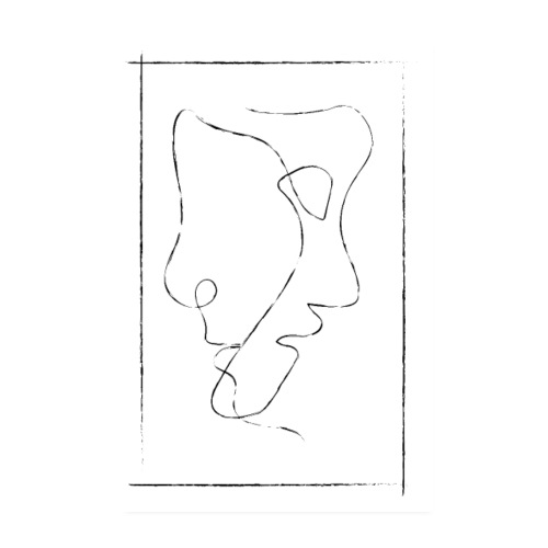 Vintage Two Faces - One Line Art - Poster 20x30 cm