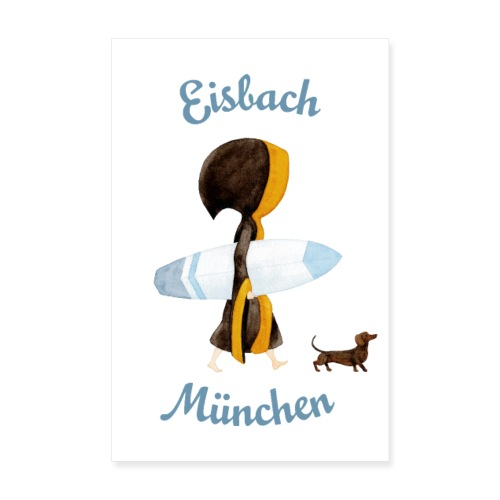 Poster Münchner Kindl Eisbach Surfer mit Dackel - Poster 20x30 cm