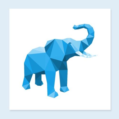 Elefant 3D Blau - Poster 20x20 cm