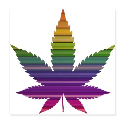 Weedblatt Design mit farbenfrohem Hintergrund - Poster 20x20 cm