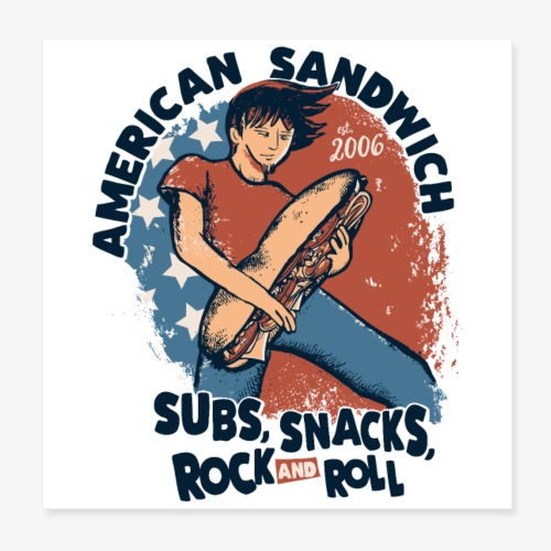 American Sandwich Rocker Poster hell - Poster 20x20 cm