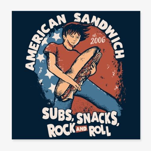 American Sandwich Rocker Poster dunkel - Poster 20x20 cm