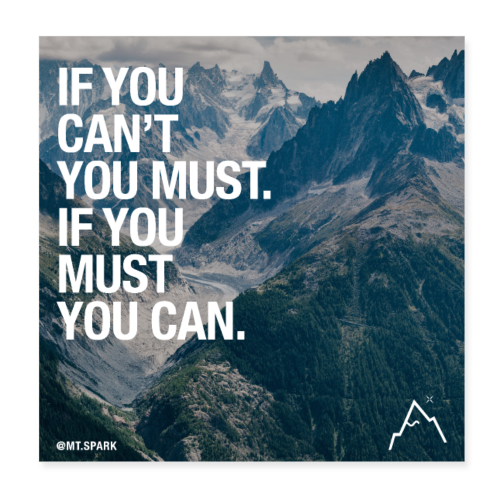 if you can't, you must. If you must, you can - Poster 20x20 cm