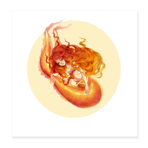 Fire Mermaid - Poster 20x20 cm