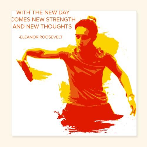 Neuer Tag kommt neues Stärke-Hemd-Tischtennis - Poster 20x20 cm
