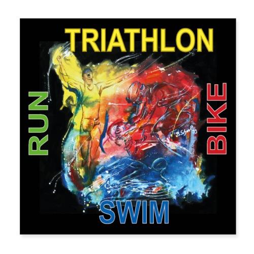 Triathlon Quadrat Poster - Poster 20x20 cm