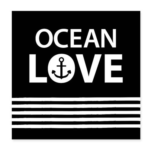 OCEAN LOVE - Anker und maritime Streifen - Poster 20x20 cm