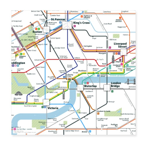 London Map Square - Poster 20x20 cm