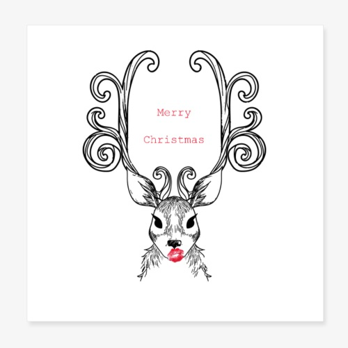 Cerf Merry Christmas - Poster 20 x 20 cm
