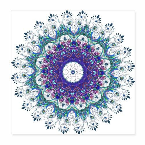 Mørk lilla mandala - Poster 20x20 cm