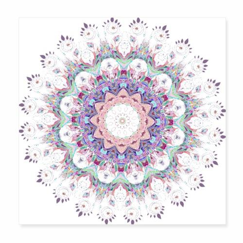 Hvid mandala - Poster 20x20 cm