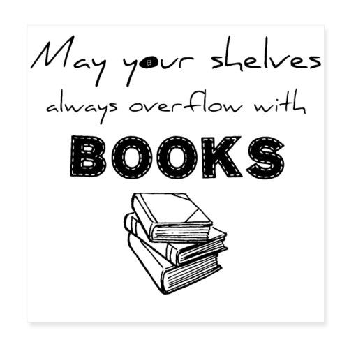 0033 Full Bookshelf | High stack of books | Read - Poster 20x20 cm