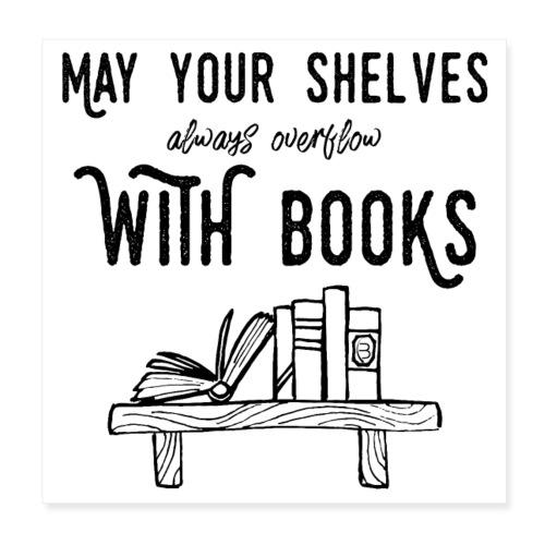 0036 bookshelf | Stack of books | Book | Read - Poster 8 x 8 (20x20 cm)