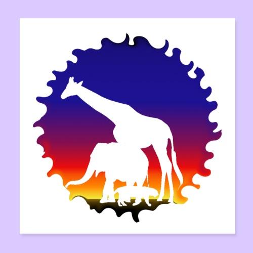 Silhouette Elefant Giraffe Tiger Afrika Sonne - Poster 20x20 cm