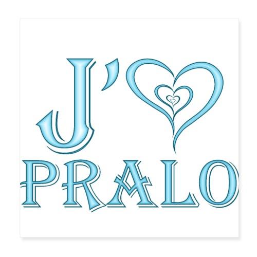 j aime pralo bleu - Poster 20 x 20 cm