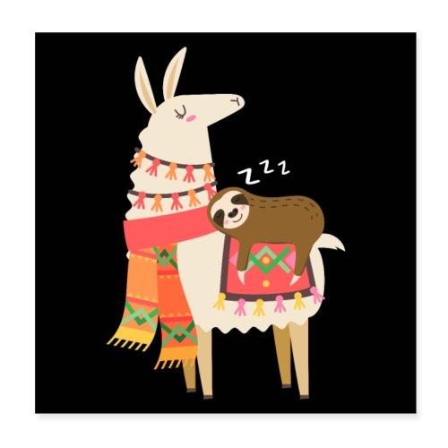 Cute Sloth Sleeping On Llama Gift - Poster 20x20 cm