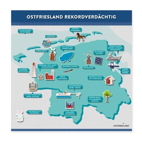 Ostfriesland Rekordverdächtig - Superlative - Poster 20x20 cm
