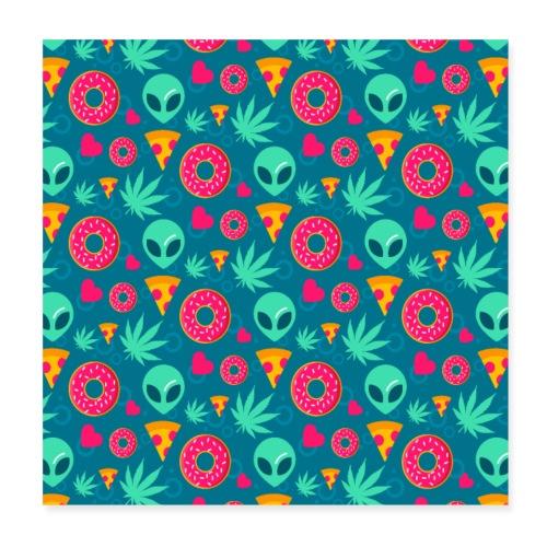 Alien Pizza Cannabis Donut Herz Muster - Poster 20x20 cm