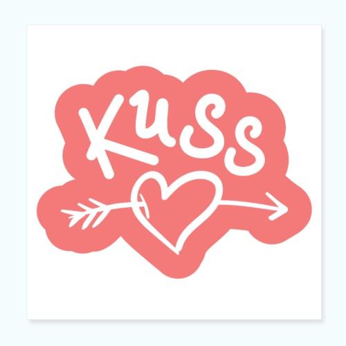 Liebes Geschenk Kuss - Poster 8 x 8 (20x20 cm)