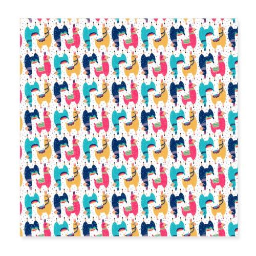 Llama Bunt Tier Tiere lustiges Muster - Poster 20x20 cm