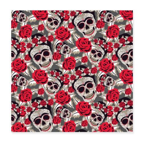 Totenkopf Schädel Zuckerschädel Mexico Rose Muster - Poster 20x20 cm