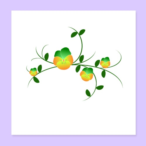Stiefmütterchen Ranke, Veilchen, Blumen, Garten - Poster 20x20 cm