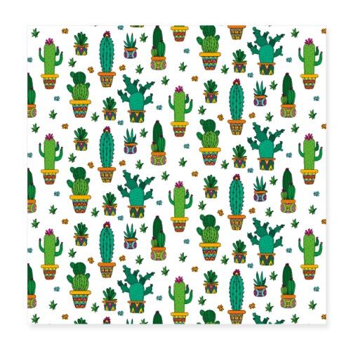 Kaktus Kakteen Wüste Wüsten Pflanze Muster - Poster 20x20 cm