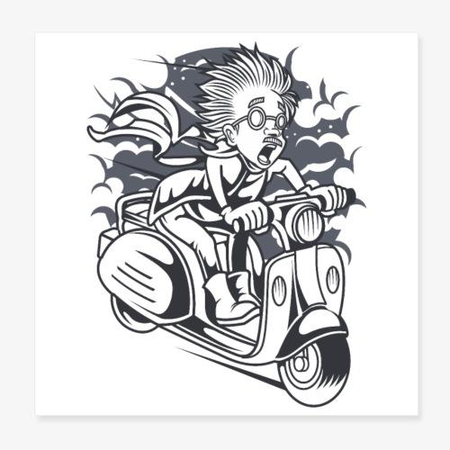Scientifique en scooter - Poster 20 x 20 cm