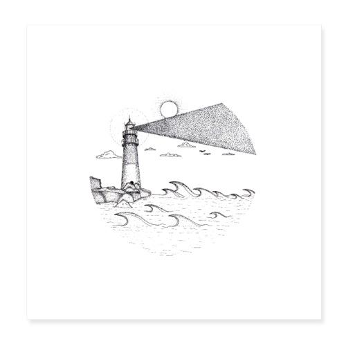 Leuchtturm am Meer - Poster 20x20 cm
