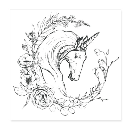 Unicorn and flowers - Poster 20x20 cm