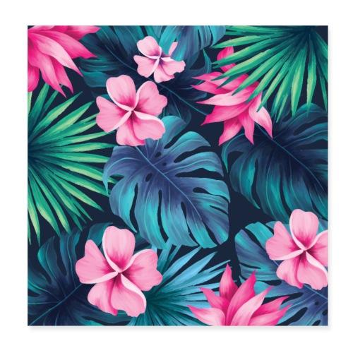 pattern, tropical, cool, funny, pretty, green, blu - Poster 20x20 cm