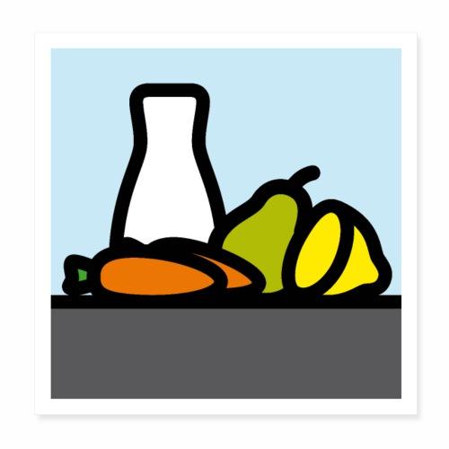 Stilleben mit Birne Karotten und Zitrone - Poster 20x20 cm