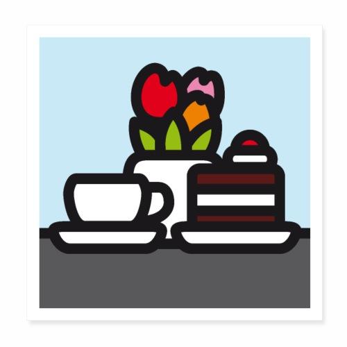 Stilleben mit Kuchen - Poster 20x20 cm