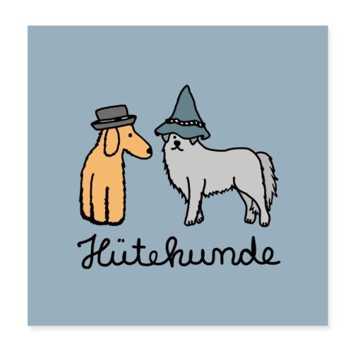 Hütehunde Poster - Hunde mit Hut - Poster 20x20 cm