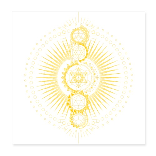 Sacred Geometry Metatron's Cube Gold Transcendence - Poster 8 x 8 (20x20 cm)