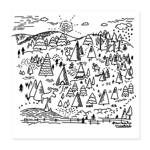 winters bos - Poster 20 x 20 cm