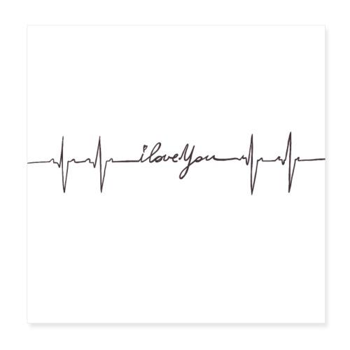 Ik hou van jou hartslag - Poster 20 x 20 cm