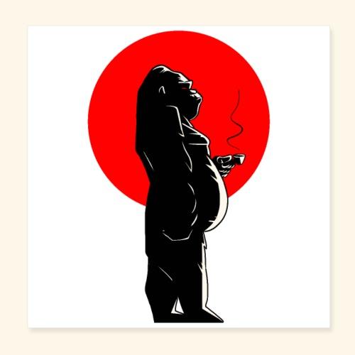 Coffee time & Gorilla - Poster 20 x 20 cm