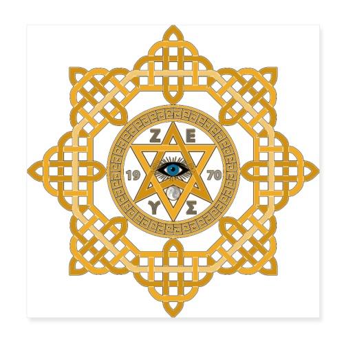 Hexagram ZEUS Mandala 1970 YinYang. 5. Dimension - Poster 20x20 cm