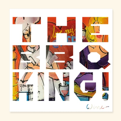 THE BBQ KING T SHIRTS TEKST - Poster 20x20 cm