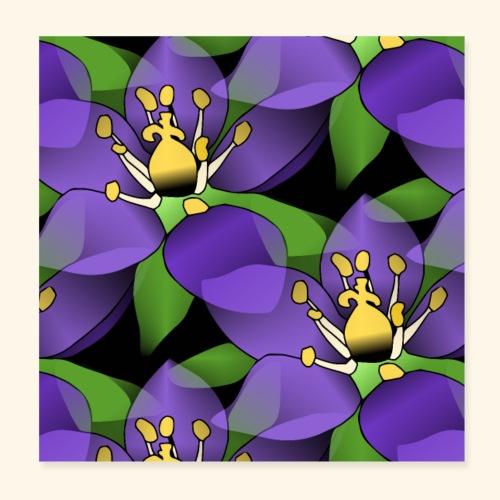 lila Blumen, violette Blüten, florales Muster - Poster 20x20 cm