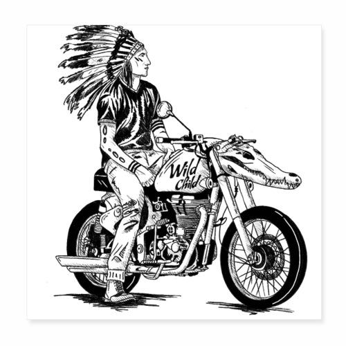 Badass Motorbike Chopper - Wild Child - Motorrad - Poster 20x20 cm