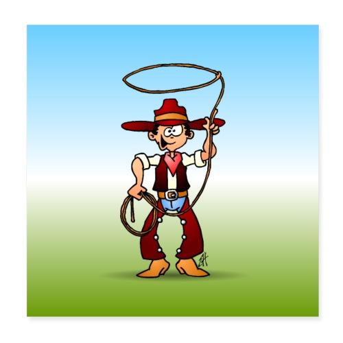 Cowboy with a lasso - Poster 8 x 8 (20x20 cm)