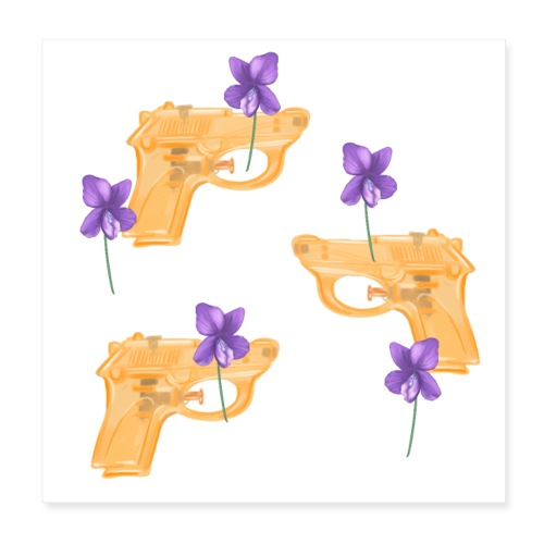 Water Guns and Flowers - Poster 20x20 cm