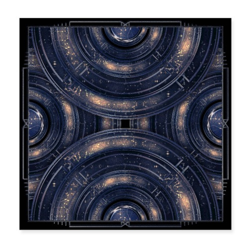Cosmos universe abstract art in blue outer space - Poster 8 x 8 (20x20 cm)
