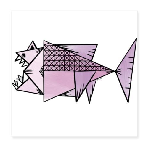 Lilla fisk - Poster 20x20 cm