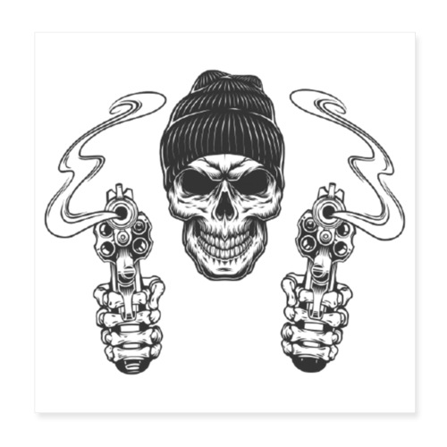 Gangster mit Mütze - Poster 20x20 cm